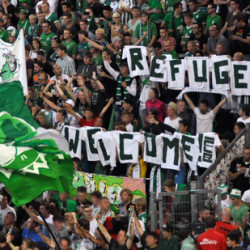 German fan groups show support to refugees and asylum seekers