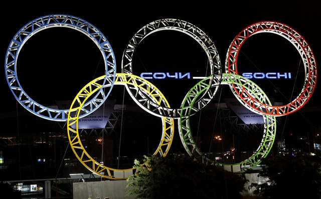 The Olympic rings are seen in front of the airport of Sochi, the host city for the Sochi 2014 Winter Olympics