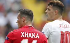 Football Soccer - Albania v Switzerland - EURO 2016 - Group A - Stade Bollaert-Delelis, Lens, France - 11/6/16 Switzerland's Granit Xhaka and Albania's Taulant Xhaka REUTERS/Carl Recine Livepic