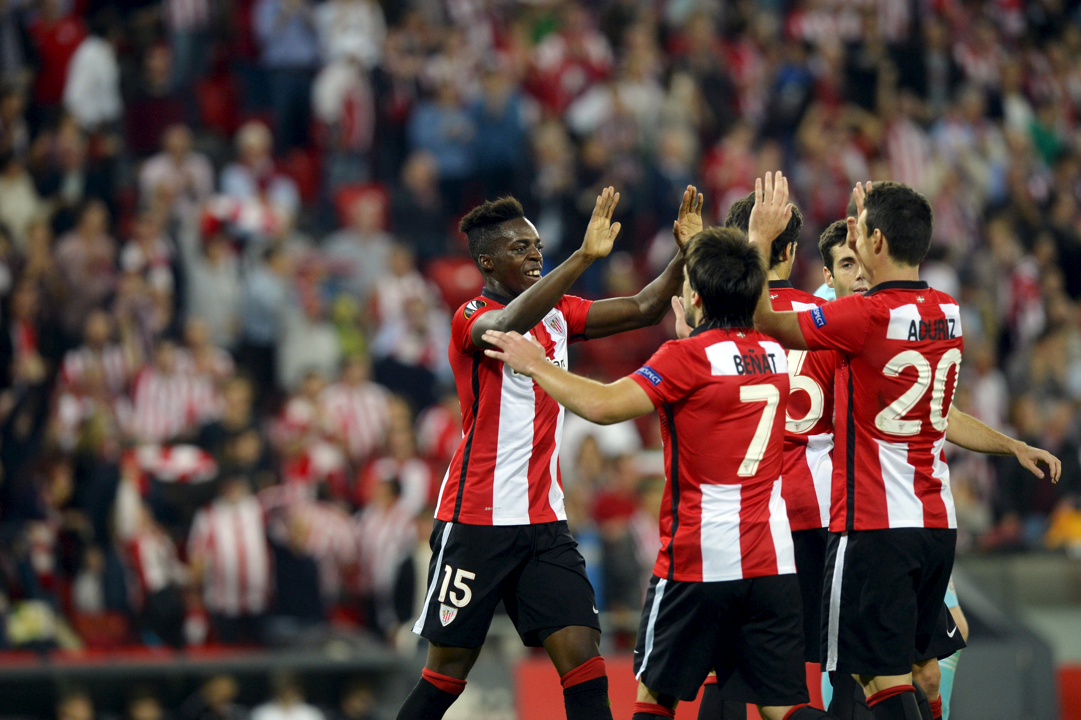 Athletic Bilbao's Inaki Williams (L) celebrates a goal with teammate Aritz Aduriz during their Europa League Group L soccer match against Partizan at San Mames stadium in Bilbao, northern Spain, November 5, 2015. REUTERS/Vincent West Picture Supplied by Action Images