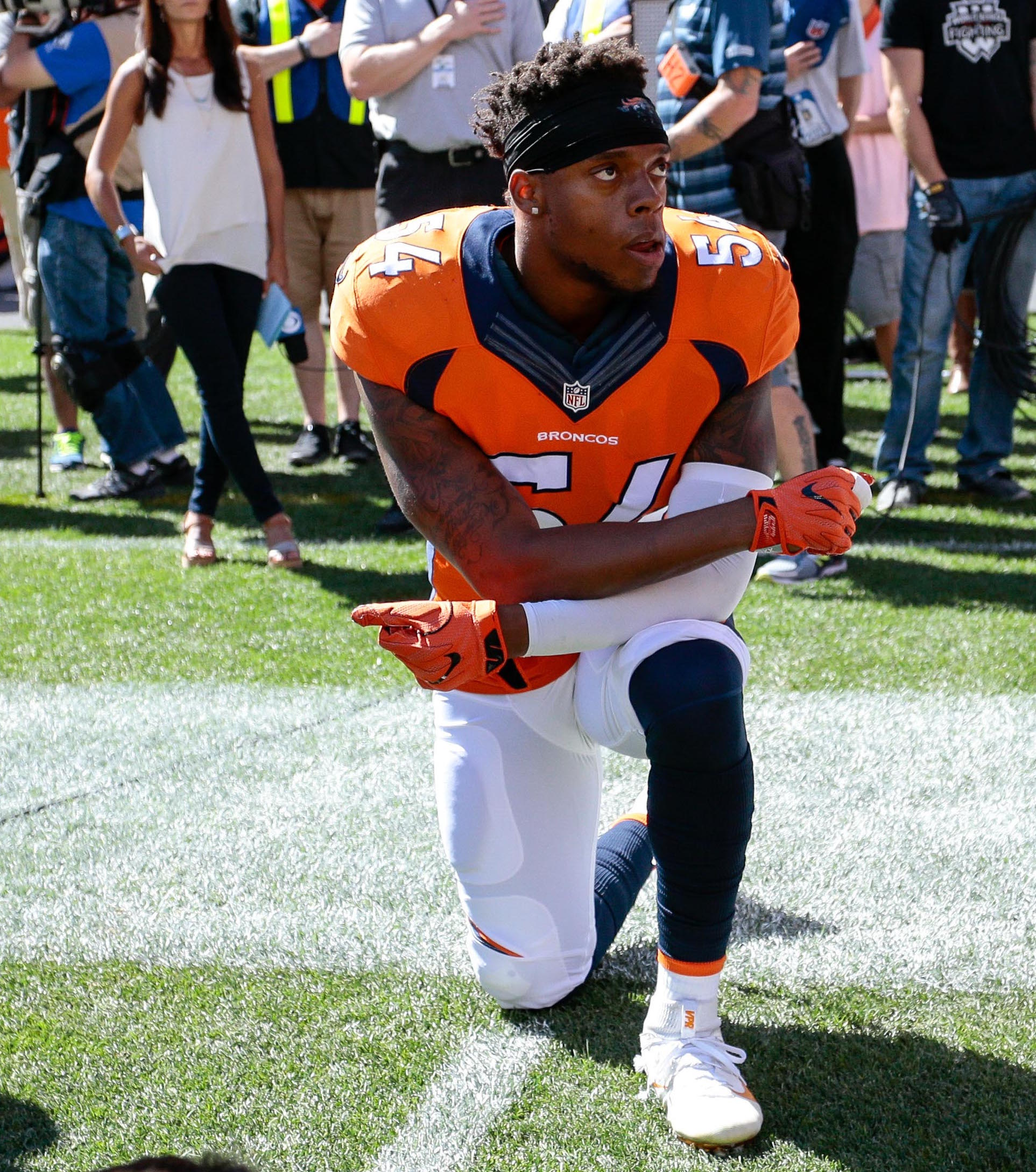 Sep 18, 2016; Denver, CO, USA; Denver Broncos inside linebacker Brandon Marshall (54) kneels during the National Anthem prior to the game against the Indianapolis Colts at Sports Authority Field at Mile High. Mandatory Credit: Isaiah J. Downing-USA TODAY Sports / Reuters Picture Supplied by Action Images (TAGS: Sport American Football NFL)